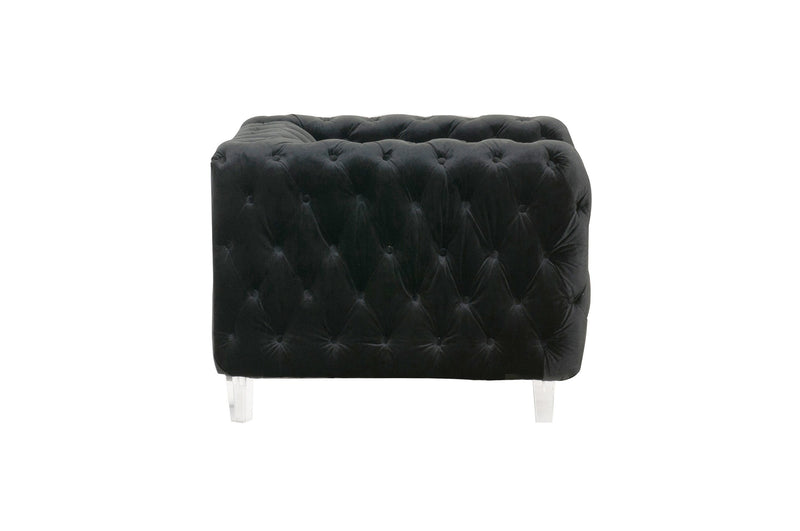 Iconic Home Syracus Tufted Velvet Plush Accent Club Chair Black