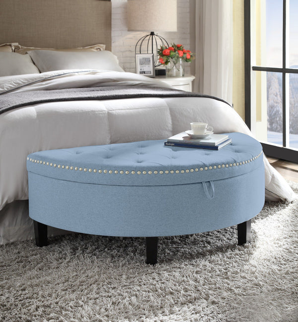 Iconic Home Jacqueline Eleanor Sarah Kelly Blair Storage Ottoman Half Moon Button Tufted Linen Upholstered Bench Blue Main Image