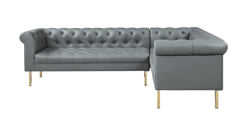 Iconic Home Giovanni Right Facing Sectional Sofa L Shape PU Leather Upholstered Gold Tone Legs Grey