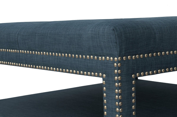 Iconic Home Bina Coffee Table Ottoman Tufted Linen Upholstered Nailhead Trim 2 Layer Bench Blue