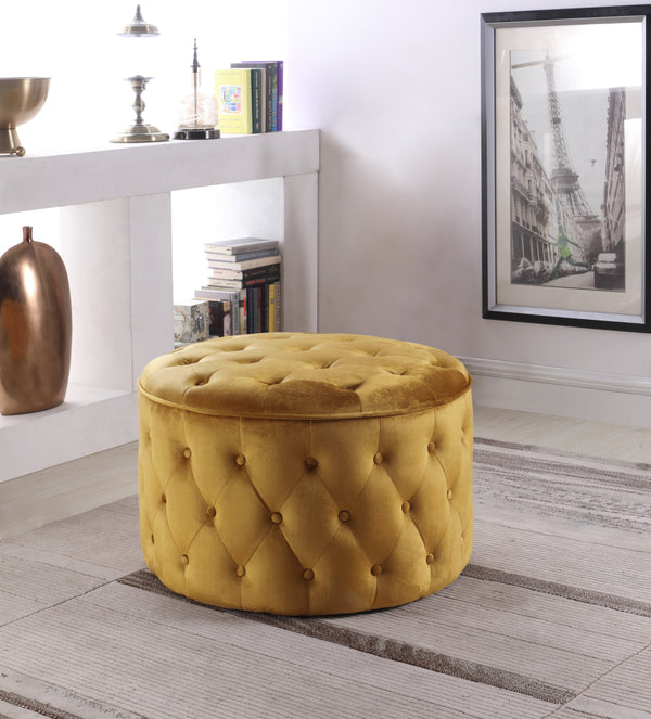 Iconic Home Batya Emma Shiloh Adna Mahlah Ottoman Button Tufted Velvet Upholstered Round Pouf Cognac Main Image