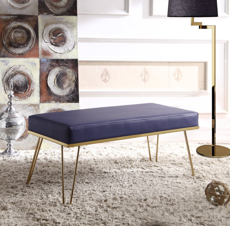 Iconic Home Aldo Aldrych Aldon Aldelfo Aldan Bench PU Leather Upholstered Brass Finished Metal Frame Hairpin Legs Navy Main Image