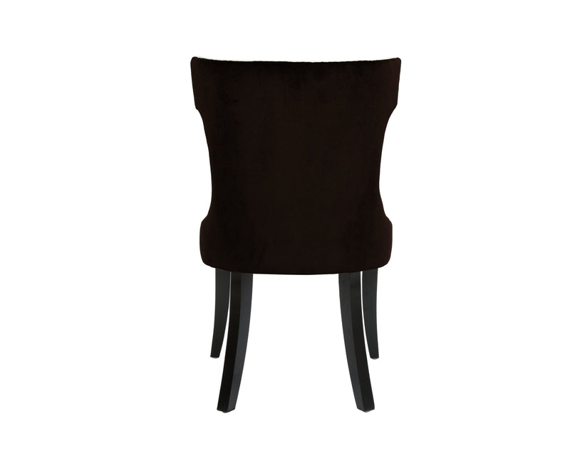 Iconic Home Conrad Velvet PU Leather Espresso Wood Frame Dining Side Chair Brown/Beige (Set of 2)