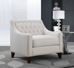 Iconic Home Aberdeen Aurora Vesta Fulla Orion Linen Tufted Accent Club Chair Cream Main Image