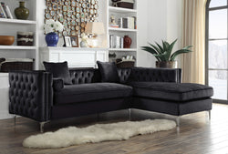 Iconic Home Da Vinci Michelangelo Picasso Monet Bosch Button Tufted Velvet Right Facing Chaise Sectional Sofa Black Main Image