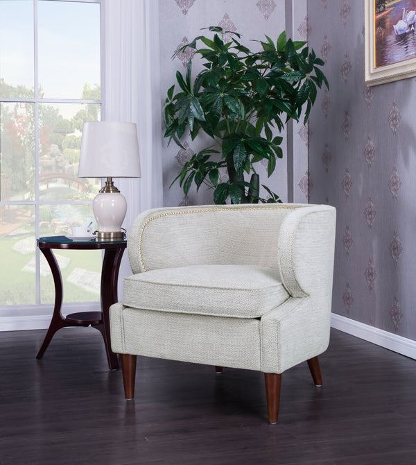 Iconic Home Vered Ymir Vlad Orlando Ezra Accent Club Chair Chenille Upholstered Nailhead Trim Wood Cone Legs Beige Main Image