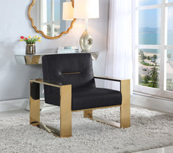 Iconic Home Colton Miel Iñigo Stefan Nicholas Accent Club Chair PU Leather Upholstered Sculptural Brass Finished Stainless Steel Frame Black Main Image