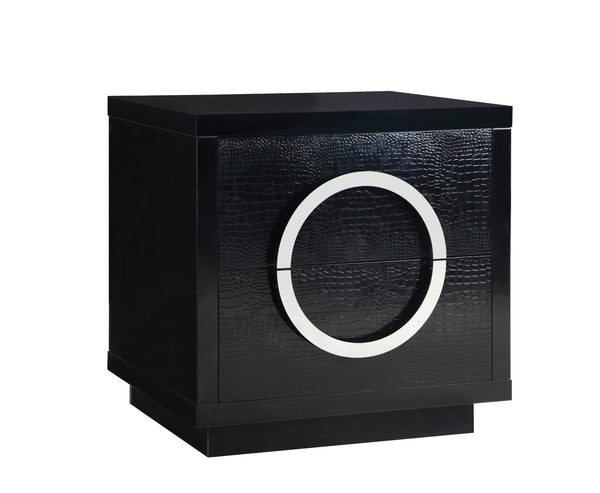 Iconic Home Sorrento Side Table Nightstand Crocodile Lacquer Finish 2 Self Closing Drawers Black