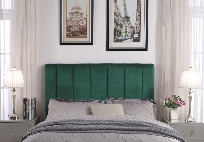Iconic Home Uriella Leor Siraj Anwar Lucian Headboard Velvet Upholstered Vertical Striped Green Main Image