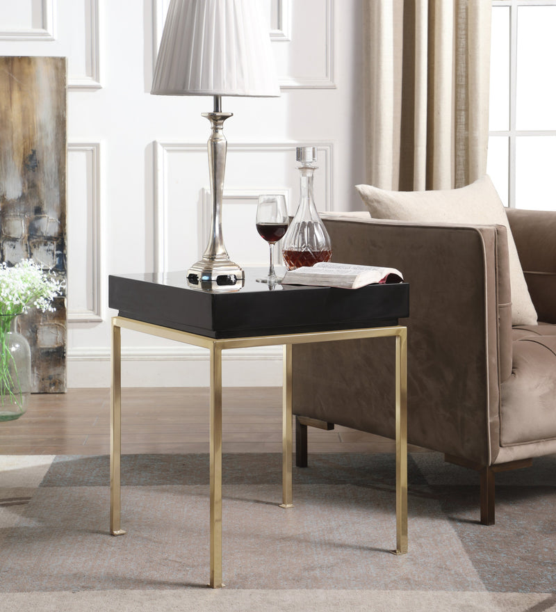 Iconic Home Cannes Bianca Frederique Sabrina Araya Side Table Nightstand High Gloss Lacquer Top Gold Plated Solid Metal Legs Black Main Image