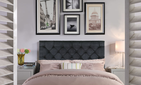Iconic Home Rivka Ajax Clytia Emer Helena Headboard Velvet Upholstered Diamond Button Tufted Black Main Image
