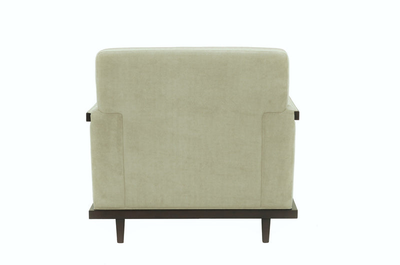 Iconic Home Norwell Accent Club Chair Retro Modern Wood Trim Detailed Herringbone Chenille Beige