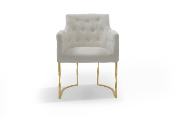 Iconic Home Amalfi Accent Chair Button Tufted Linen Upholstered Gold Tone Solid Metal Frame Beige