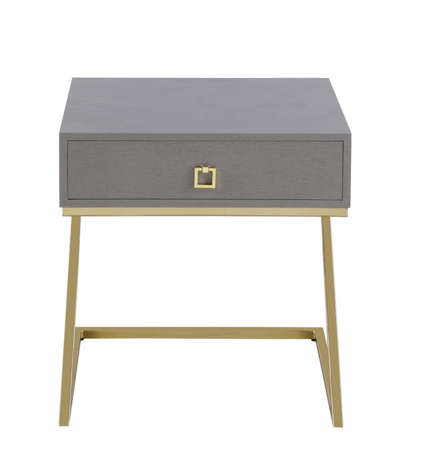 "Iconic Home Cordoba Nightstand Side Table Self Closing Drawer Brass Finished Metal ""Z"" Frame Grey"