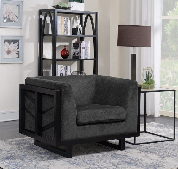 Iconic Home Arianna Miley Genevieve Mabel Shannon Linen Textured Accent Club Chair Black