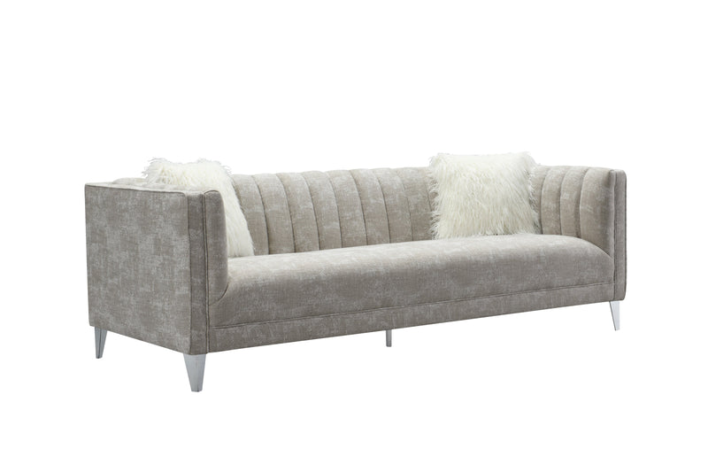 Iconic Home Montmarte Sofa Textured Fabric Channel-Quilted Tapered Silvertone Metal Legs Beige