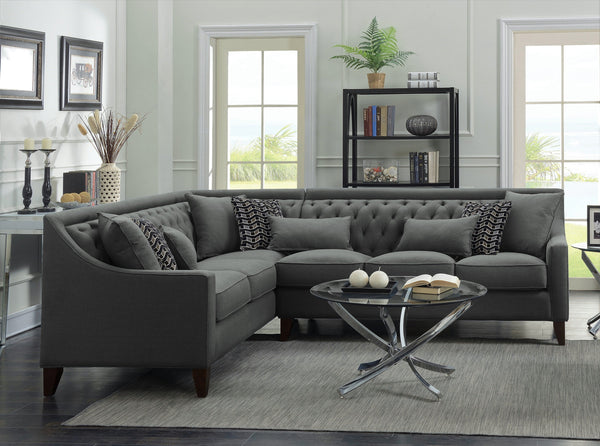 Iconic Home Aberdeen Aurora Vesta Fulla Orion Linen Tufted Left Facing Sectional Sofa Grey Main Image Grey