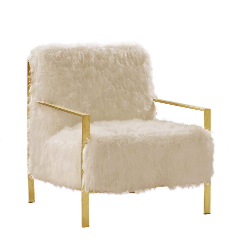 Iconic Home Bayla Accent Club Chair Faux Fur Upholstered Brass Finished Stainless Steel Frame Beige