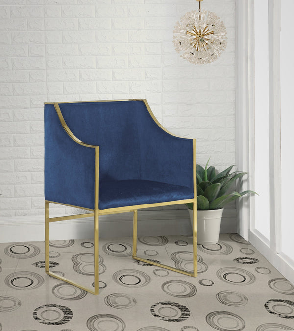 Iconic Home Rowan Declan Aidan Homer Franco Accent Club Chair Velvet Upholstered Brass Finished Stainless Steel Frame Navy Main Image