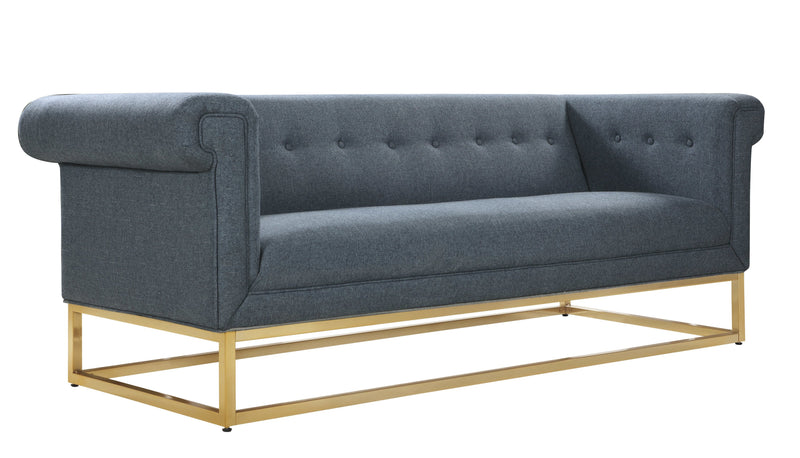 Iconic Home Palmira Button Tufted Rolled Shelter Arm Sofa Blue