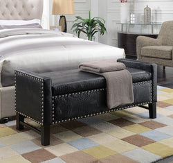 Iconic Home Archer Eurus Niobe Dalfon Ilias Storage Bench PU Leather Upholstered Nailhead Trim Ottoman Black Main Image