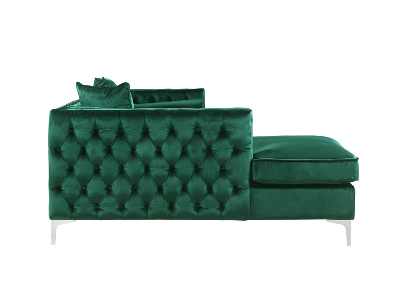 Iconic Home Da Vinci Button Tufted Velvet Left Facing Chaise Sectional Sofa Green