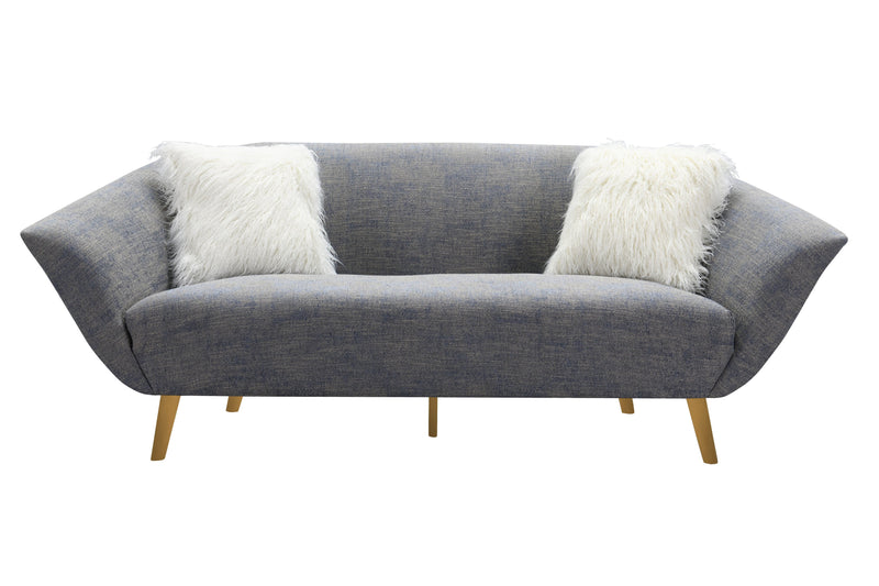 Iconic Home Chateau Sofa Two-Tone Textured Fabric Flared Arm Design Goldtone Solid Metal Legs Blue