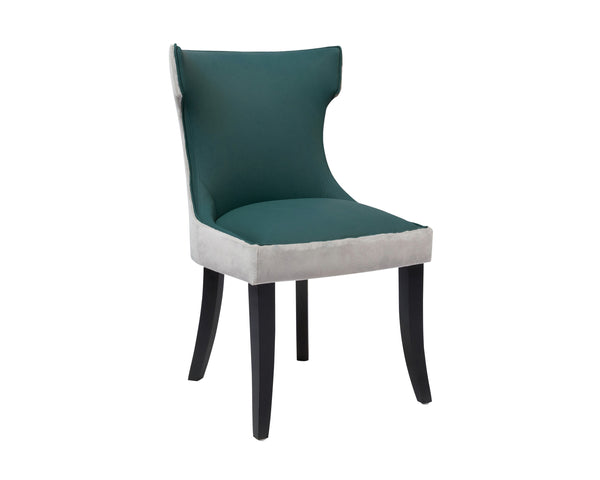 Iconic Home Conrad Velvet PU Leather Espresso Wood Frame Dining Side Chair Grey/Teal (Set of 2)