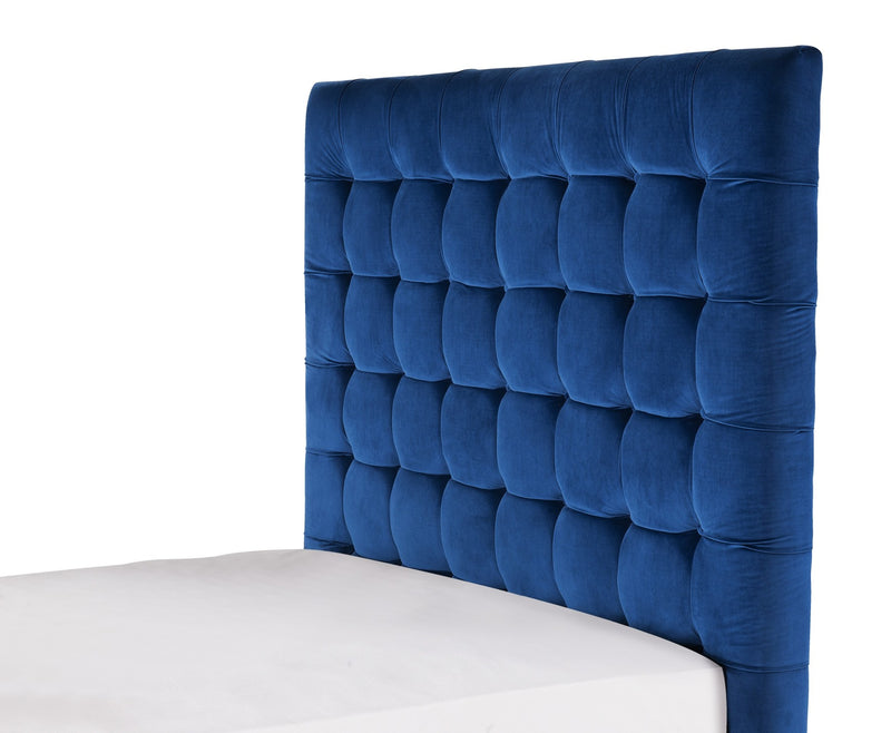 Iconic Home Beethoven Bed Frame with Headboard Tufted Velvet Upholstered Tapered Birch Legs Navy