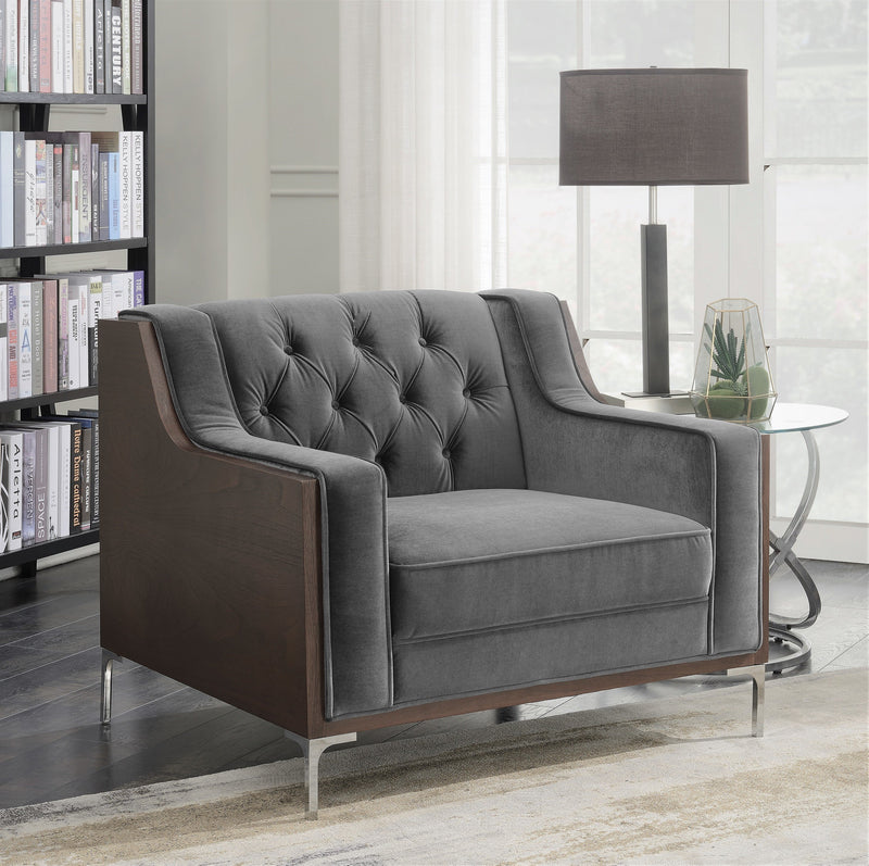 Iconic Home Clark Bruce Xavier Parker Natasha Club Chair Button Tufted Velvet Walnut Finish Swoop Arm Wood Frame Metal Y Legs Grey Main Image