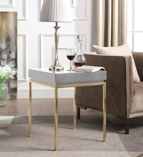 Iconic Home Cannes Bianca Frederique Sabrina Araya Side Table Nightstand High Gloss Lacquer Top Gold Plated Solid Metal Legs Grey Main Image