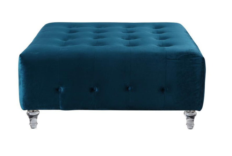 Iconic Home Samspon Coffee Table Ottoman Velvet Upholstered Button Tufted Acrylic Legs Bench Blue