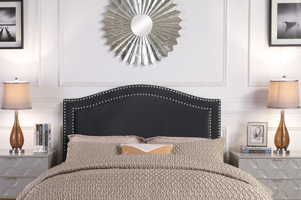 Iconic Home Tal Clio Godiva Idun Minerva Headboard Velvet Upholstered Double Row Nailhead Trim Black Main Image