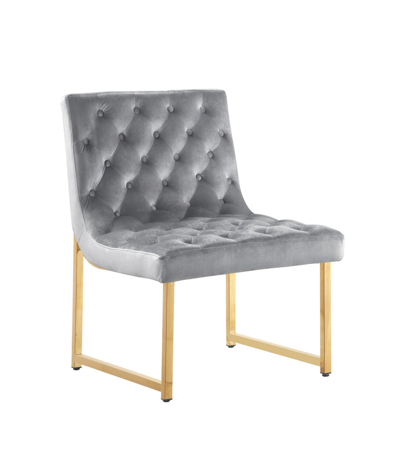 Iconic Home Moriah Accent Chair Button Tufted Velvet Upholstered Brass Finished Metal Frame Grey