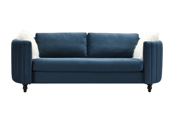 Iconic Home Riviera Sofa Velvet Upholstered Channel Quilted Espresso Finished Wood Legs Blue