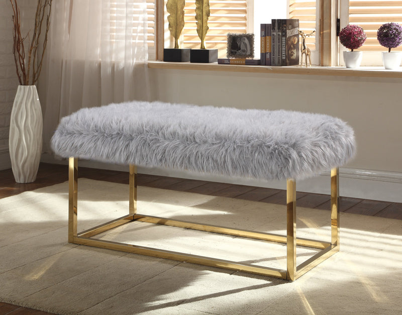 Iconic Home Marilyn Sophia Audrey Carolyn Anne Faux Fur High Polish Metal Frame Ottoman Bench Grey Main Image