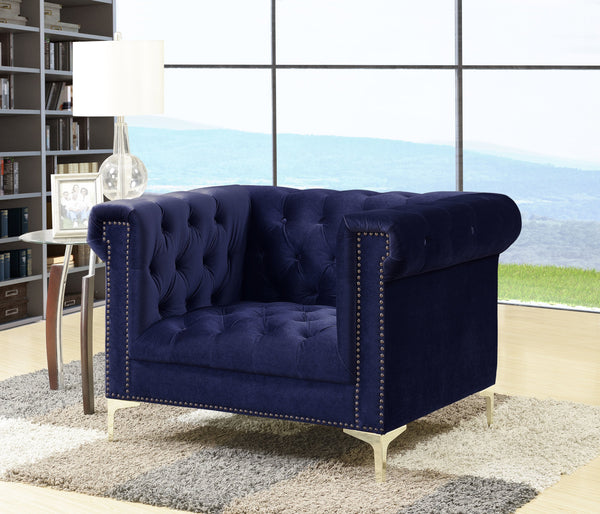 Iconic Home Bea Carlos Soumaya Vanessa Johanna Velvet Button Tufted Accent Club Chair Navy Main Image