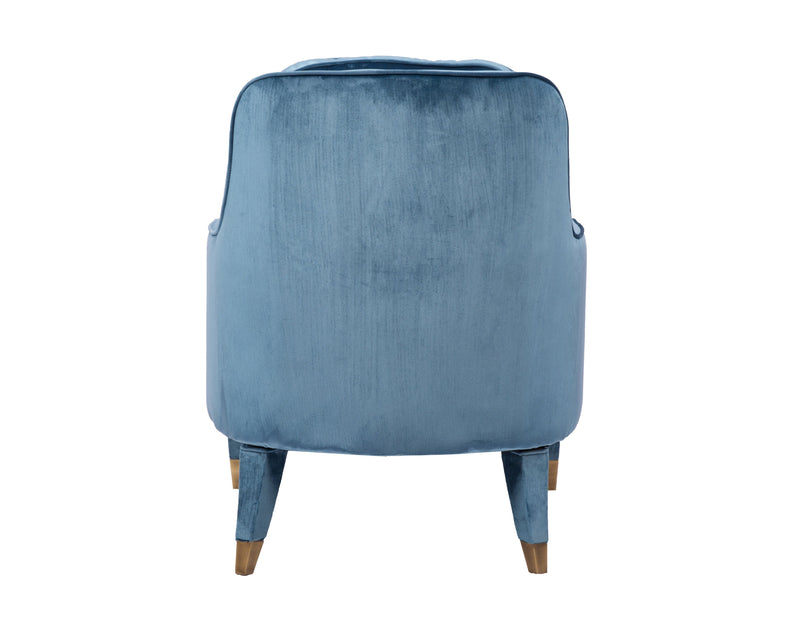 Iconic Home Tzivia Accent Club Chair Sleek Velvet Upholstered Plush Cushion Brass Tip Legs Blue