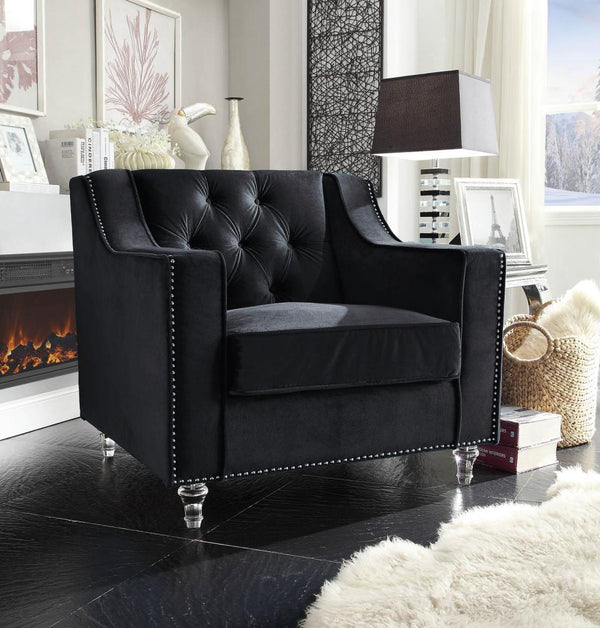 Iconic Home Dylan Presley Stewart Berry Dale Velvet Button Tufted Accent Club Chair Black Main Image