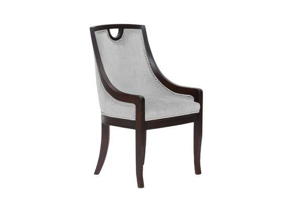 Iconic Home Owen Dining Side Chair Velvet Upholstered Nailhead Trim Wood Frame Beige (Set of 1)