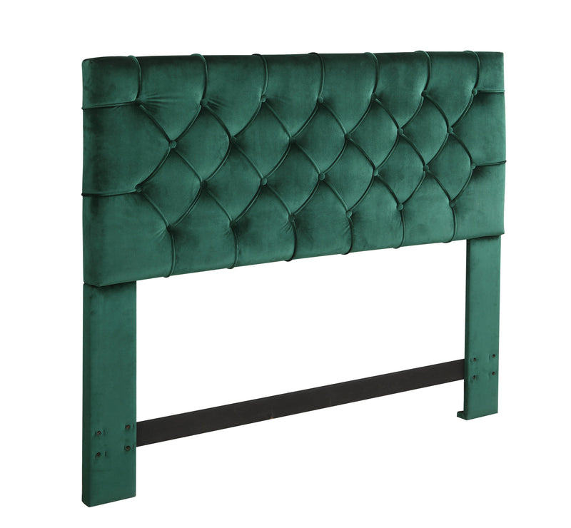 Iconic Home Rivka Headboard Velvet Upholstered Diamond Button Tufted Green