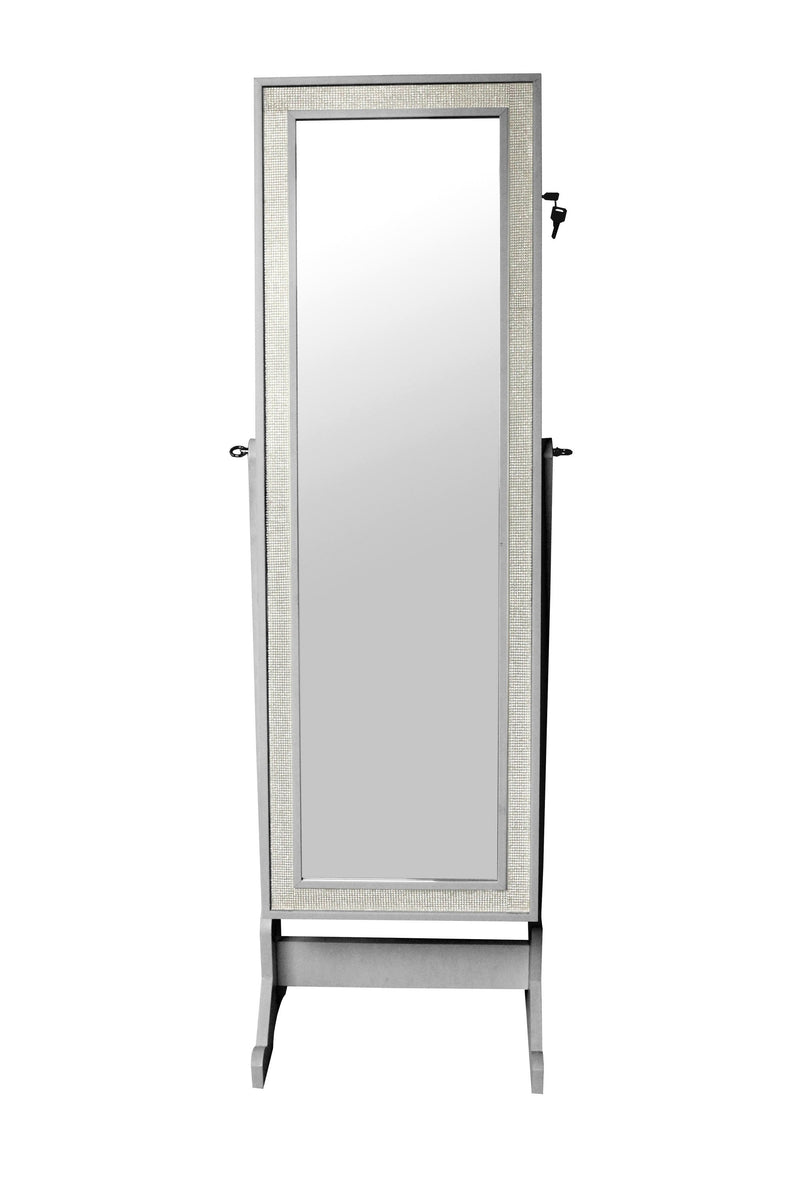Iconic Home Glitzy Crystal Border Jewelry Storage Armoire Full Length Cheval Mirror Silver