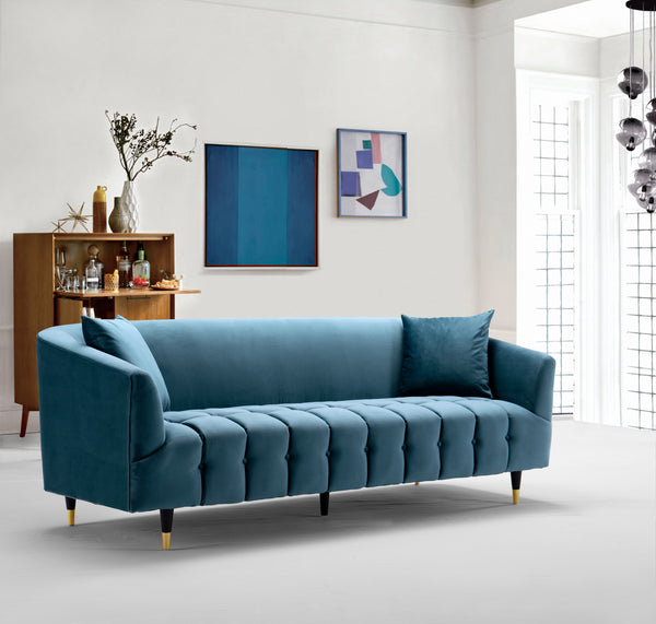 Iconic Home Julia Clara Nora Ella Lydia Sofa Velvet Upholstered Button Tufted Shelter Arm Design Gold Tip Wood Legs Teal Main Image