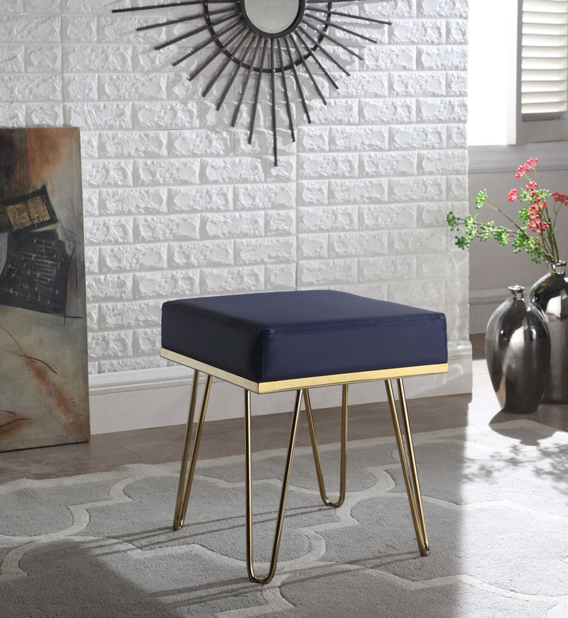 Iconic Home Catania Catheau Catharin Catha Caitlin Square Ottoman PU Leather Upholstered Brass Finished Frame Hairpin Legs Navy Main Image