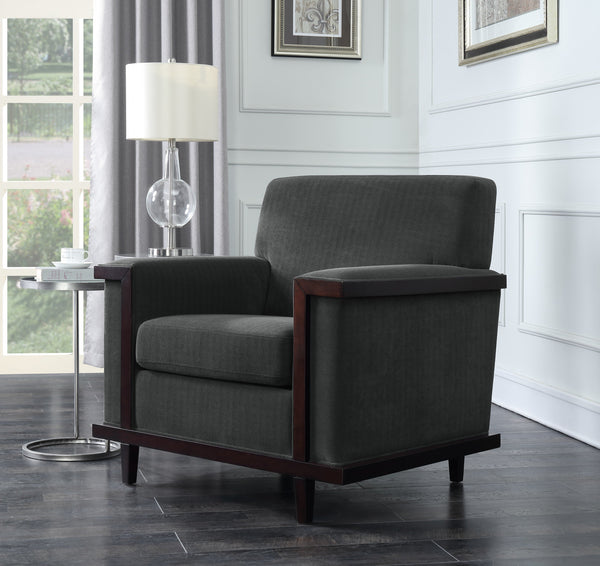Iconic Home Norwell Barron Adrian Airoe Edmund Accent Club Chair Retro Modern Wood Trim Herringbone Chenille Wood Legs Charcoal Main Image