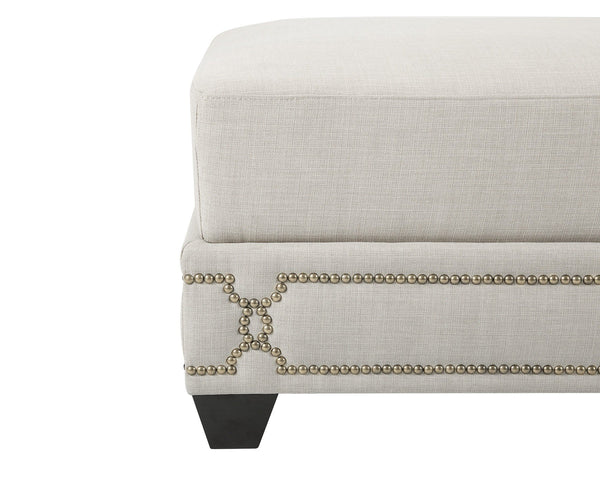 Iconic Home Gianni Ottoman Bench Linen Upholstered Nailhead Trim Ebony Legs Beige