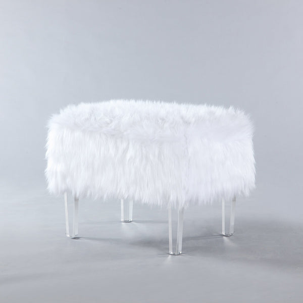 Iconic Home Fiorino Faux Fur Ottoman Acrylic Legs Bench White