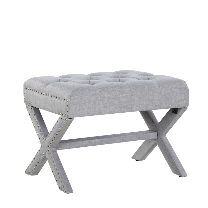 Iconic Home Paige Ottoman X Frame Nailhead Trim Linen Tufted Bench Grey