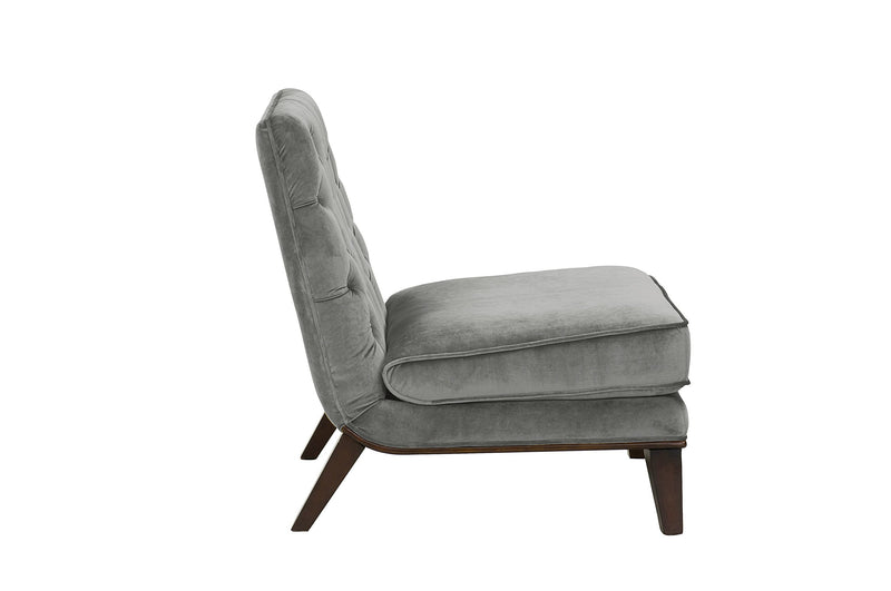 Iconic Home Achilles Armless Velvet Tufted Slipper Accent Club Chair Grey