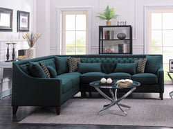 Iconic Home Aberdeen Aurora Vesta Fulla Orion Linen Tufted Left Facing Sectional Sofa Teal Main Image Teal
